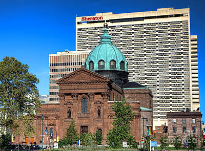 Saints Peter And Paul And Sheraton Hotel In Philadelphia  Print by Olivier Le Queinec