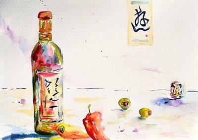 Sake Bottle Painting - Sake by Beverley Harper Tinsley