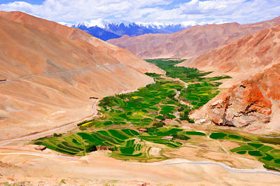 Hill Top Village Painting - Sakti Village In Ladakh 1 by Lanjee Chee