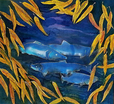Salmon And Willow Original by Carolyn Doe