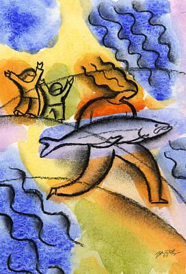 Salmon Fishing Original by Leon Zernitsky