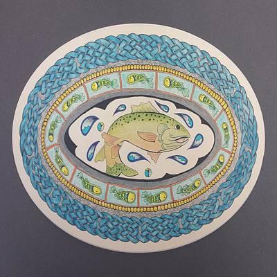 Mandala Digital Art - Salmon Of Knowledge - Square by Lorraine Kelly