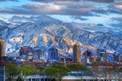 Snowy Night Photograph - Salt Lake City Utah Usa by Utah Images