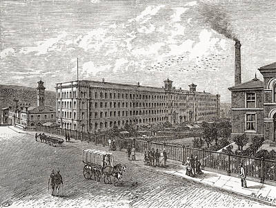 Village Scene Drawing - Saltaire Mills, Bradford, West by Vintage Design Pics