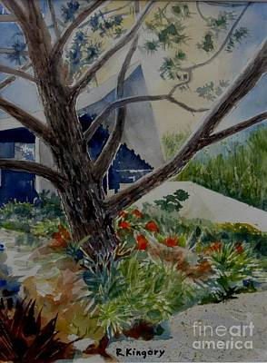 Bamboo House Painting - Saltman House And Garden I by Ralph Kingery