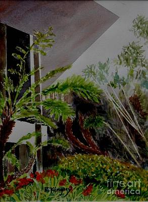 Bamboo House Painting - Saltman House And Garden II by Ralph Kingery