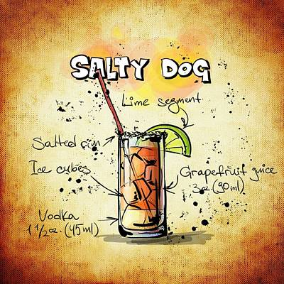 Grapefruit Drawing - Salty Dog Recipe by Mountain Dreams