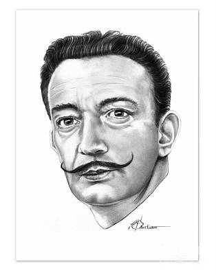 Famous People Drawing - Salvador Dali by Murphy Elliott