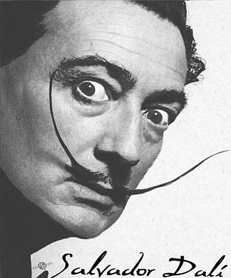 Salvador Dali Realistic Painting With Signature In Black And White Original by Tony Rubino