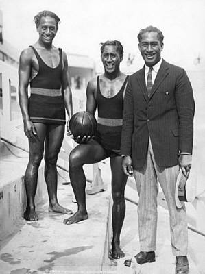 Volleyball Photograph - Sam, Dave And Duke Kahanamoku by Underwood Archives