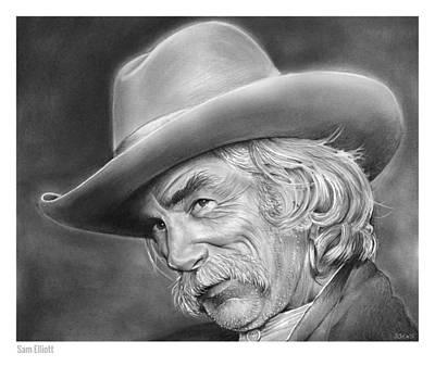 Westerns Drawing - Sam Elliott by Greg Joens