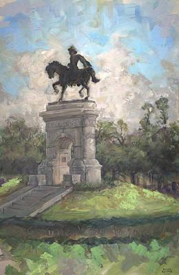 Sam Houston Painting - Sam Houston Monument by Roger Seward