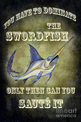 Swordfish Drawing - Sammy The Swordfish by Bruce Stanfield