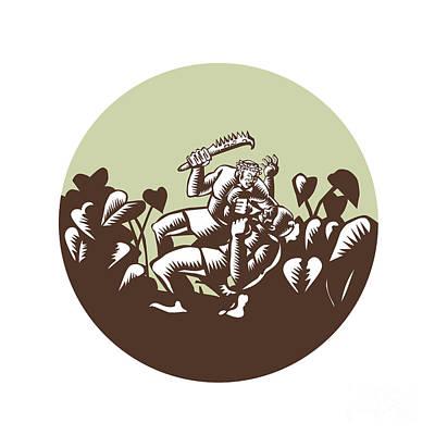 Samoan Losi Club Nifo'oti Weapon Circle Woodcut Print by Aloysius Patrimonio