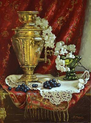 Hand Painted Glasses Painting - Samovar And Cherry Blossoms by Viktoria K Majestic