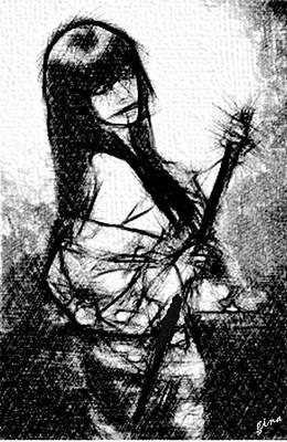 Simplicity Drawing - Samurai Affair by Gina Seymour