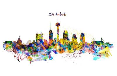 San Antonio Skyline Silhouette Print by Marian Voicu