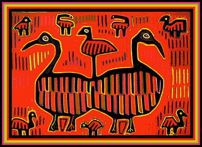 Esprit Mystique Digital Art - San Blas Folk Art Sea Birds by Witches Hammer - Virginia Vivier