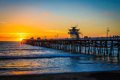 San Clemente Pier At Dusk Print by Mountain Dreams