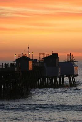 San Clemente Pier Sunset Print by Brad Scott