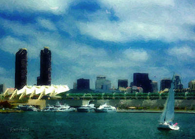 San Diego Bay -  Convention Center Print by Russ Harris