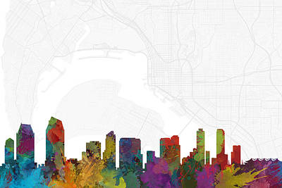 California Digital Art - San Diego Cityscape And Streetmap Skyline by Jurq Studio