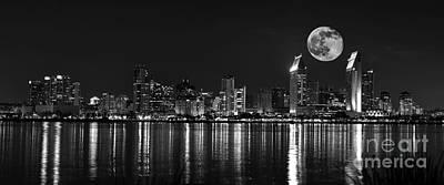 San Diego Full Moon Panorama Print by Art K