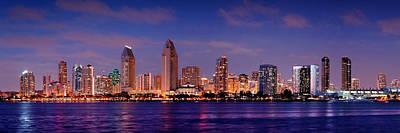 San Diego Skyline At Dusk Print by Jon Holiday