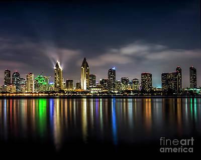 San Diego Skyline At Night Original by Ken Johnson