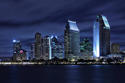 Long Exposure Photograph - San Diego Skyline At Night by Larry Marshall