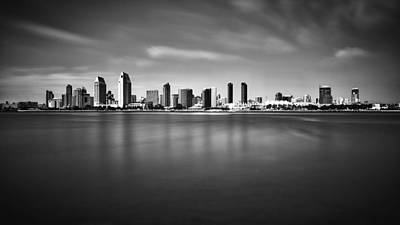 B Photograph - San Diego Skyline - Black And White by Photography  By Sai