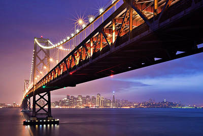 Illuminated Photograph - San Francisco Bay Bridge by Photo by Mike Shaw
