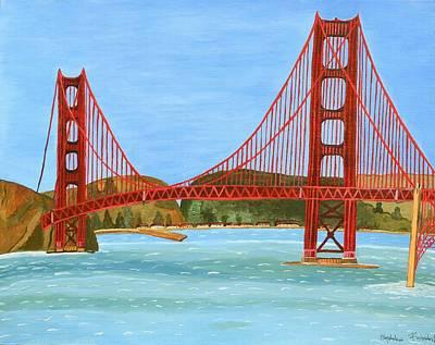 Mums Painting - San Francisco Bridge  by Magdalena Frohnsdorff