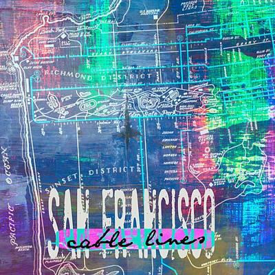San Francisco Cali Digital Art - San Francisco Cable Lines V1 by Brandi Fitzgerald