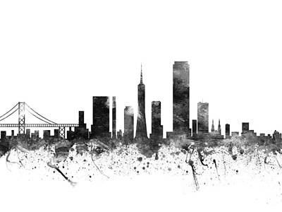 Towns Drawing - San Francisco California Cityscape 02bw by Aged Pixel