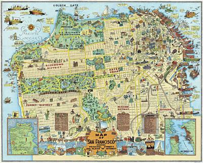 Presidio Park Photograph - San Francisco Cartoon Map  1927 by Daniel Hagerman