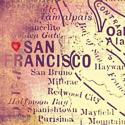 San Francisco Cali Digital Art - San Francisco Heart Map V4 by Brandi Fitzgerald