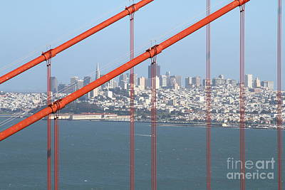 San Francisco In The Distance Through The Golden Gate Bridge . 7d14538 Print by Wingsdomain Art and Photography