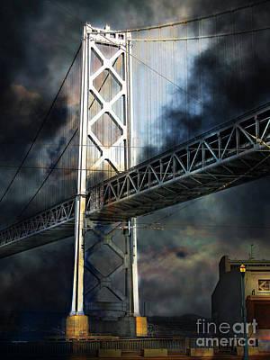 Bay Area Digital Art - San Francisco Nights At The Bay Bridge 7d7748 Vertical by Wingsdomain Art and Photography