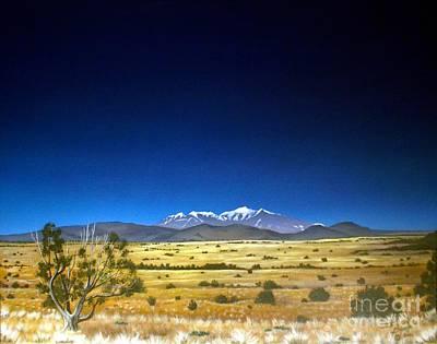 Pinion Painting - San Francisco Peaks by Jerry Bokowski
