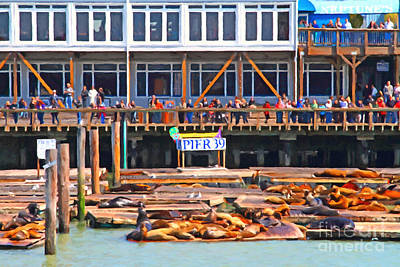 Tourist Attraction Digital Art - San Francisco Pier 39 Sea Lions . 7d14272 by Wingsdomain Art and Photography