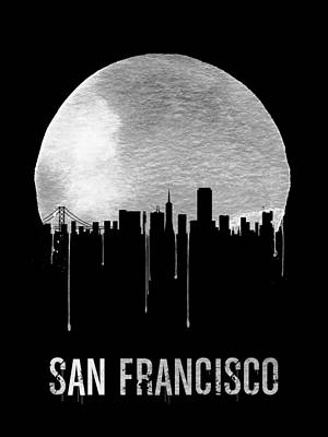 Golden Gate Bridge Digital Art - San Francisco Skyline Black by Naxart Studio