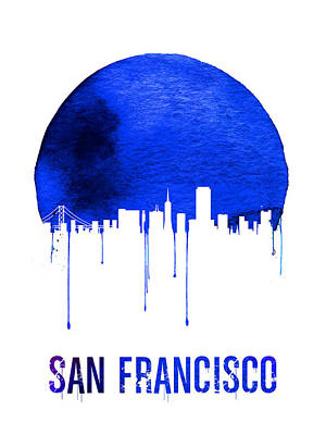 Golden Gate Bridge Digital Art - San Francisco Skyline Blue by Naxart Studio