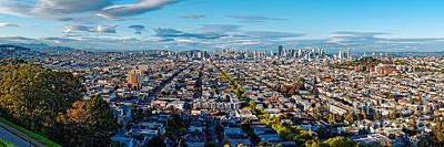 San Francisco Skyline From Bernal Heights Park At Sunset - San Francisco California Print by Silvio Ligutti
