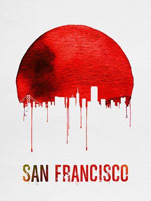 Golden Gate Bridge Digital Art - San Francisco Skyline Red by Naxart Studio