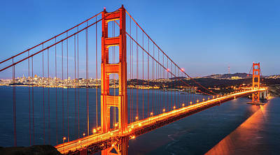 Downtown Area Photograph - San Francisco Through The Golden Gate Bridge At Dusk by James Udall
