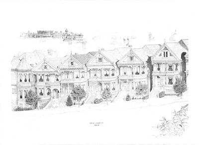 Edward Williams Drawing - San Francisco Victorians by Edward Williams