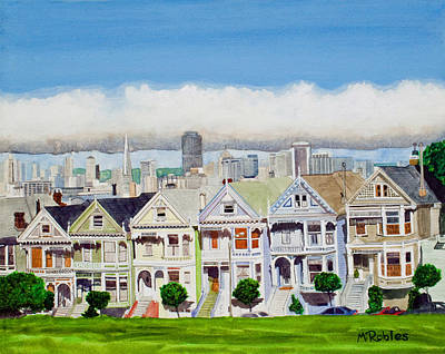 Pen Painting - San Francisco's Painted Ladies by Mike Robles