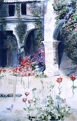 Mission San Juan Capistrano Painting - San Juan Capistrano In The Courtyard by Theo  Snell