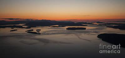 Vancouver Photograph - San Juans Islands Aerial Sunset Calm Dusk by Mike Reid
